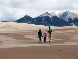 Hiking along the surreal landscape of the Great Sand Dunes.